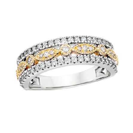 14 karat two tone diamond band ring with outer white gold shared prong rows on each side of a yellow gold row made of round and marquise shapes; 1/2cttw