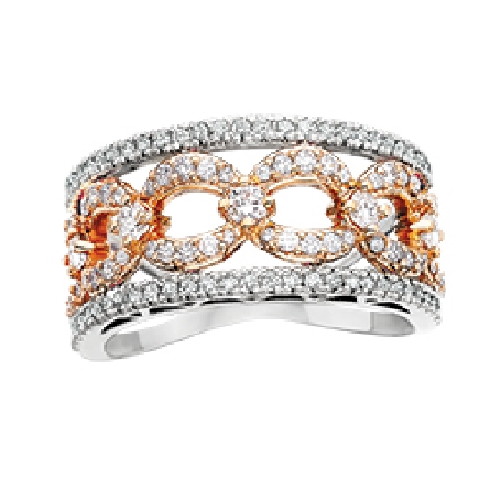 14 karat two tone diamond band with shared prong set outer white bands surrounding a center row of rose gold links; 1cttw GH/SI