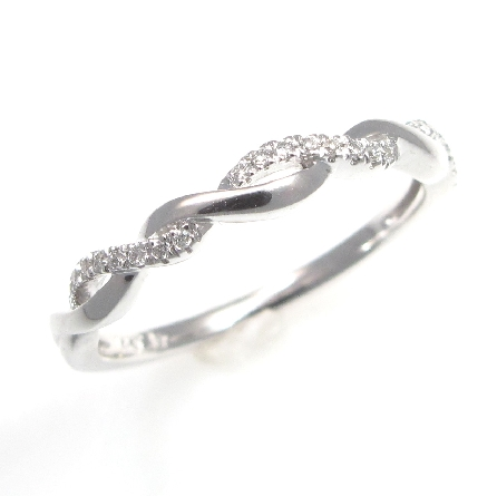 14 karat white gold stackable diamond band; 2-strand woven look; one polished; one diamond-set .07cttw