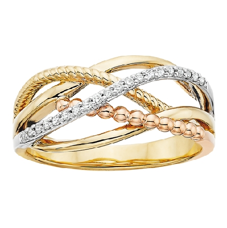 14 karat tricolor gold ring with curving bands of different textures and colors (yellow and rose); one white gold diamond-set band in the center; .10cttw