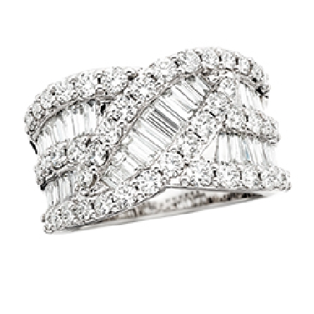 14 karat white gold diamond band with curving rows of baguettes and rounds; 1.5cttw