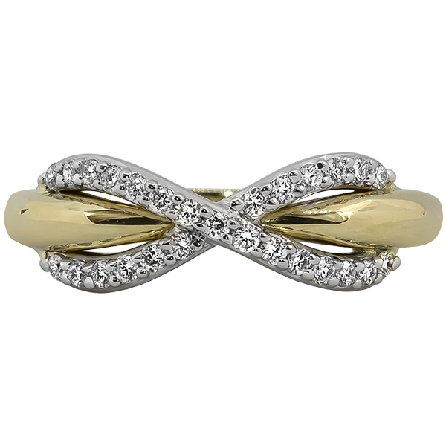 14 karat two tone ring; white gold rounded X is set with diamonds (1/4cttw GH/I1) and has the appearance of an infinity symbol wrapping around a yellow gold band