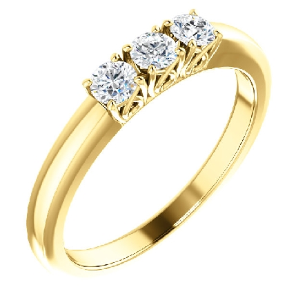 14 karat yellow gold ring with three diamonds in four prong settings with lower prong detail; polished shanks; center diamond=.14 carat; side diamonds =.23cttw. Ring total weight is .37 carat; all are H/I1