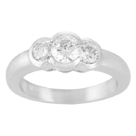 14 karat white gold three-stone diamond ring with partial bezels; 1=.37ct; 2=.36cttw; all are G/VS