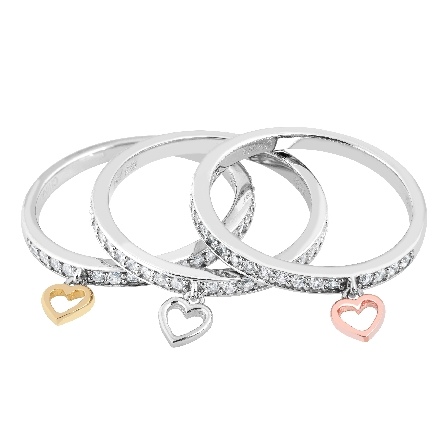set of three sterling silver band rings set with cubic zirconias; each one has a dangling heart; silver or yellow or rose gold plated; size 7