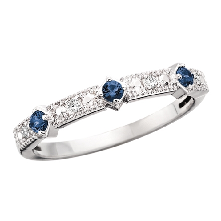 10 karat white gold band-style ring with 3 sapphires alternating with short rows of diamonds (.04cttw)