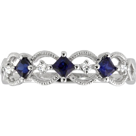 14 karat white gold band-style ring with three star-grade square-cut sapphires alternating with a diamond in the center of open milgrain ovals; 1/20cttw GH/SI