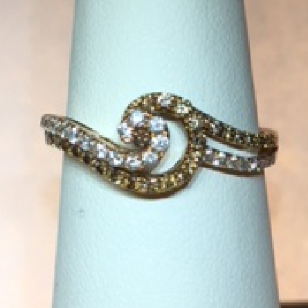 14 karat rose gold ring set with one row of cafe diamonds weighing .26cttw; and one row of white diamonds weighing .21cttw (H-I/SI3) in swirl pattern