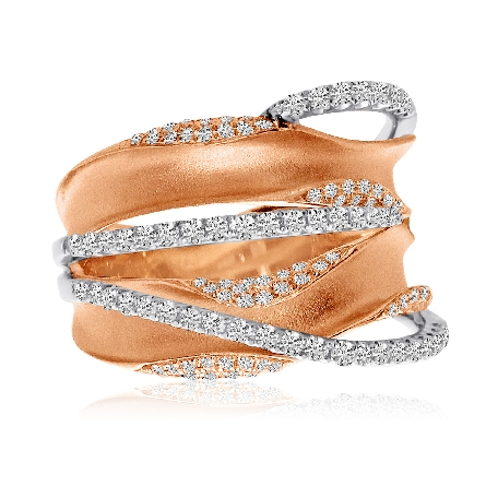 14 karat wide dimensional ring; textured rose gold ribbons edged in diamond with narrow white gold diamond band overlays; .63cttw