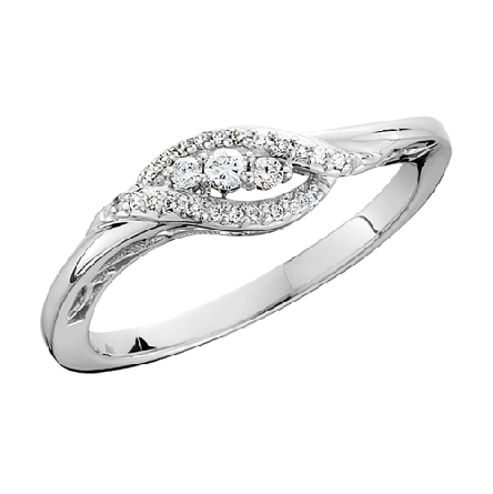 10 karat white gold diamond ring; 3 set at an angle in the center with a curving row of diamond on each side; .13cttw; light filigree under center