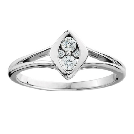 10 karat white gold diamond ring; marquise shaped frame with two diamonds set north-south and two smaller diamonds set east-west; .16cttw; raised shouder straight shank