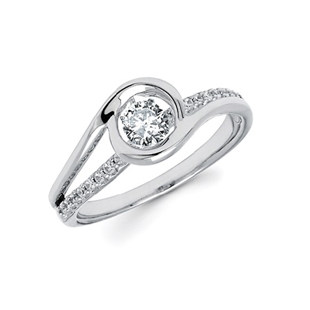 14 karat white gold ring; raised center curving bypass surrounds a .25 carat shimmering diamond; over a diamond-set band that lays on the finger holding another .15cttw (.40cttw H-I/I1)