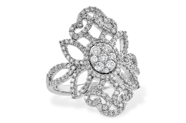 14 karat white gold diamond ring; cluster center with vintage filigree inspired surround; 1.03cttw