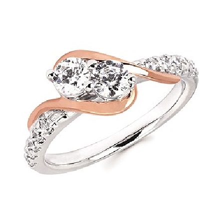 14 karat diamond ring; white gold straight shank with bead set mellee; two prong-set centers set on the diagonal with a rose gold swirl on each side; I/I1; 2=.546cttw; 10=.20cttw