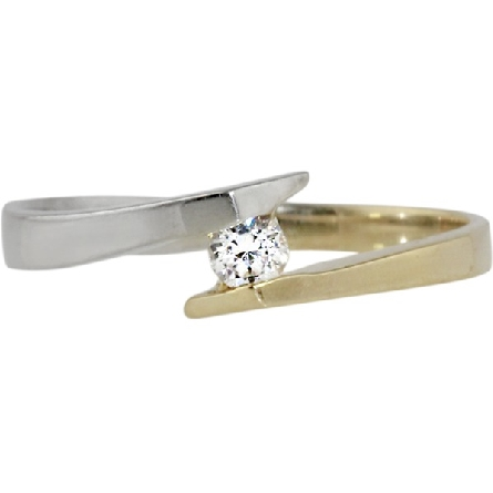 10 karat two tone ring with offset shanks; one half yellow gold the other half white gold; bypassing at the center with a 1/10 carat diamond GH/SI2-3