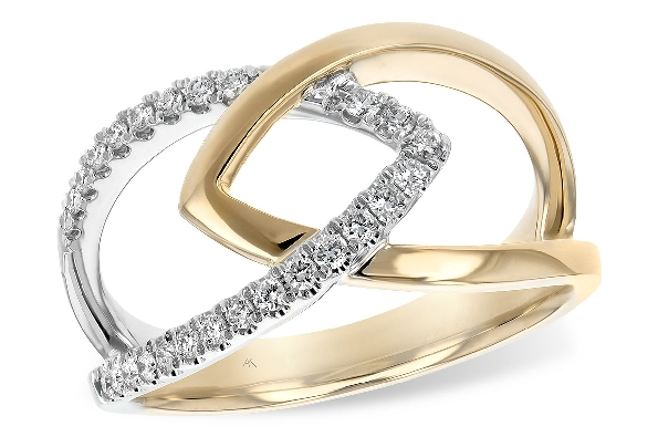 14 karat two tone ring; white gold open marquise shape is set with diamonds (.20cttw) intertwined with polished yellow gold of the same shape