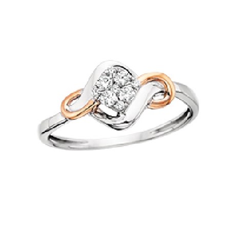 10 karat two tone ring; white gold with a cluster of diamonds in the center and a rose gold swirl on each side; .15cttw