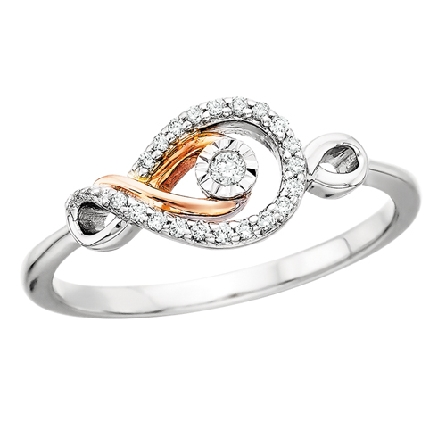 sterling silver   love s path   ring; east-west infinity set with diamonds; 10 karat rose gold centerswirl with diamond; .10cttw