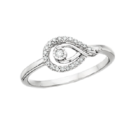 14 karat white gold   Love s Path   ring; sideways teardrop shapes; outer set with diamonds; inner polished; diamond in center; .10cttw