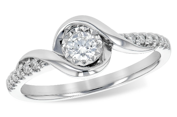 14 karat white gold diamond engagement ring; bypass center with a round .15 carat; .10cttw on the side shanks; all G/SI1-2