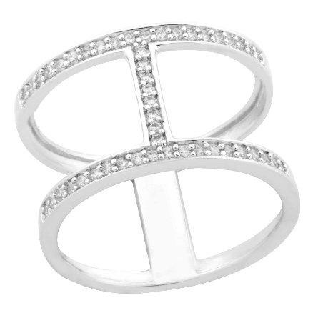 sterling silver I ring set with clear cubic zirconias; size 7; TRJ style SESR985