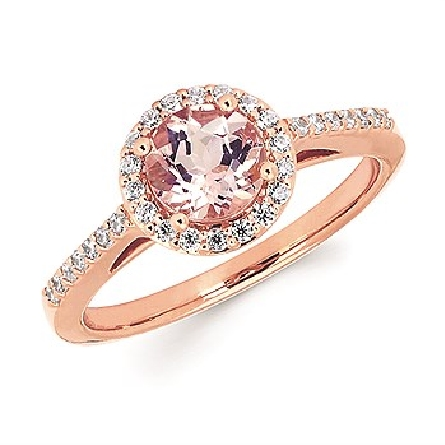 14 karat rose gold ring; 6.2mm round morganite with diamond halo and diamonds on straight shanks; filigree underbridging