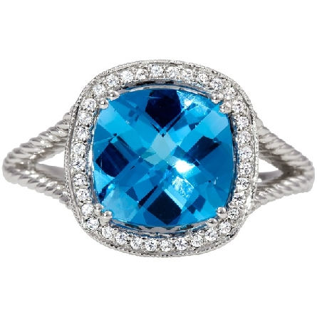 14 karat white gold ring; prong-set 9x9 cushion blue topaz with diamond halo; filigree underbridging on split twisted shanks; Rego 10136-06