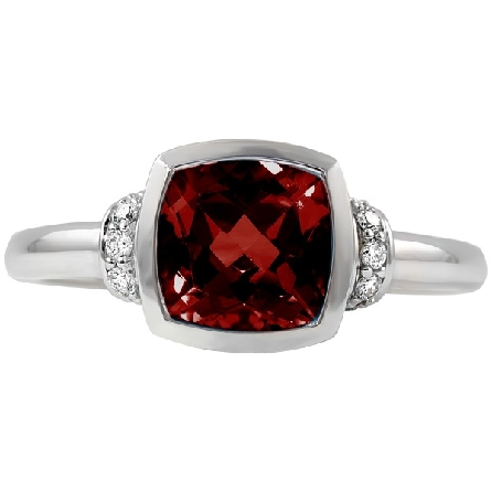 14 karat white gold ring; 7x7 cushion bezel-set garnet with straight shanks; diamond strip wrapped around top shank; and diamond on each side of filigree underbezel; 1/12cttw diamond