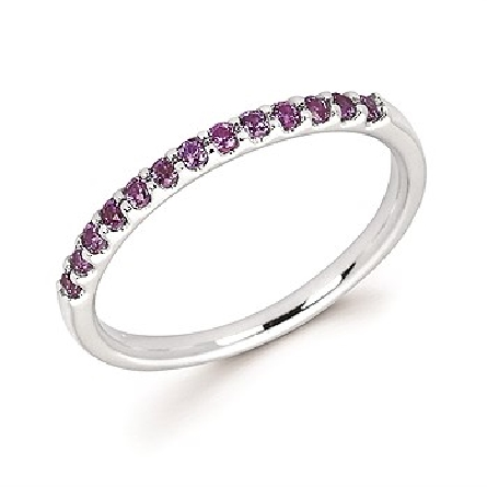 14 karat white gold straight row stackable ring with 13 round shared-prong-set created alexandrite stones
