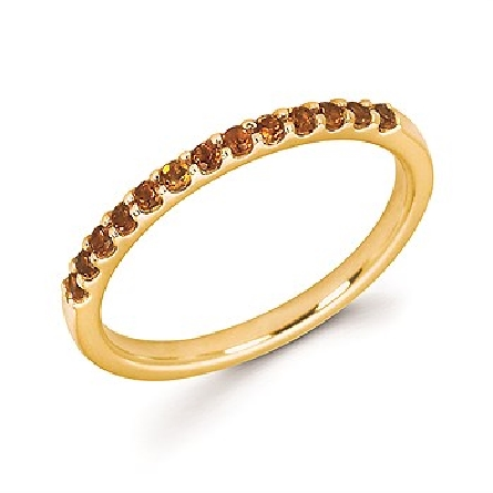 14 karat yellow gold straight row stackable ring with 13 round shared-prong-set citrine stones