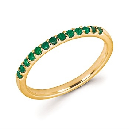 14 karat yellow gold straight row stackable ring with 13 round shared-prong-set emerald stones