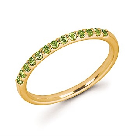 14 karat yellow gold straight row stackable ring with 13 round shared-prong-set peridot stones