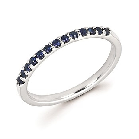 14 karat white gold straight row stackable ring with 13 round shared-prong-set sapphires