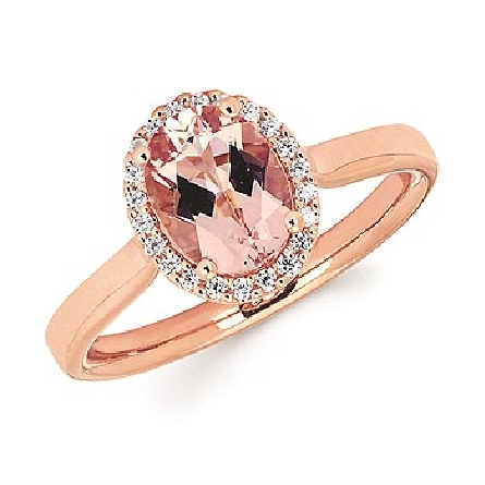 14 karat rose gold ring; 8x6mm oval morganite surrounded by 22 diamonds; .10cttw; filigree underbezel; narrow raised shoulder straight shanks