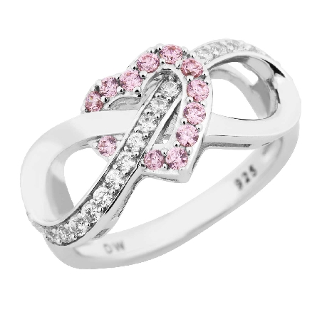 sterling silver ring; infinity symbol half set with clear CZs; interwoven with pink CZ heart