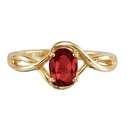 14 karat yellow gold ring; prong set oval garnet with a twist shank; 1.02 carat; Parle RPF071G2XCI