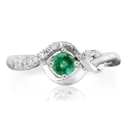 14 karat white gold ring; round prong-set emerald (.27 carat)  in assymetric twist bypass mounting with diamond trim (.07cttw)