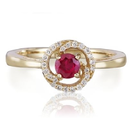 14 karat yellow gold ring; round ruby(.46 carat) in center of diamond swirl halo (.11cttw H-I/SI2)
