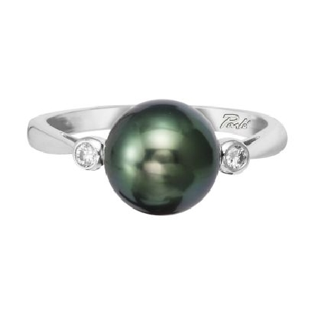 14 karat white gold ring; 9mm Tahitian black pearl with a bezel set diamond on each side (.05cttw H-I/SI2); straight pinch top shank