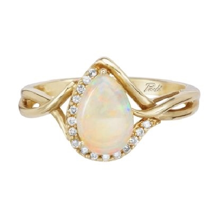 14 karat yellow gold ring; pear shaped 9x6mm opal; twist shank; with a curve of diamonds around the curve of the opal and along one side (.11cttw H-I/SI2)