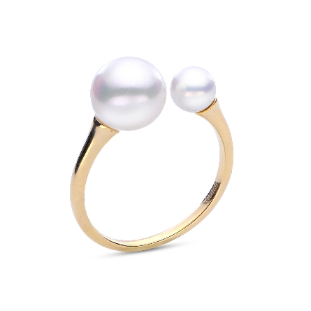 14 karat yellow gold ring; open at top with a 5mm pearl on one side opening and 8mm pearl on the other; both are AA freshwater;