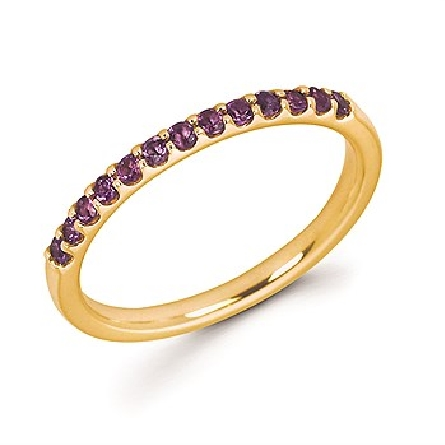 14 karat yellow gold stackable band ring set with 13 round amethysts