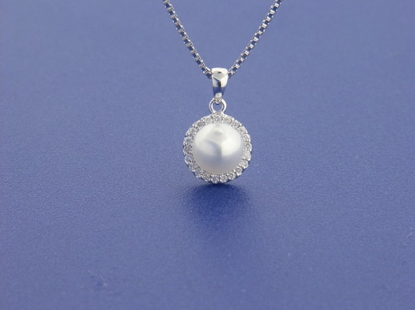 View Details 14 Karat White Gold Pendant 6 25mm Freshwater Cultured Pearl With Diamond Halo