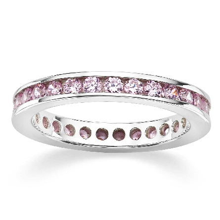Sterling silver eternity band set with light pink cubic zirconias; size 7