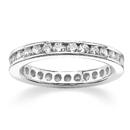 Sterling silver eternity band set with clear cubic zirconias; size 7