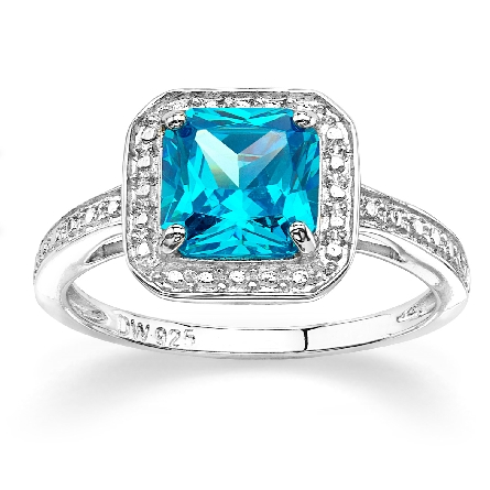 sterling ring; square cut-corner blue topaz-colored CZ with clear CZ halo and shanks; size 7
