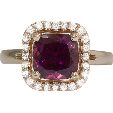14 karat rose gold ring; cushion shape rhodolite weighing 2.80 carats approx. 8x8mm; .25cttw G-H/SI wavy diamond halo; rounded petal underbridging; straight slightly split shank