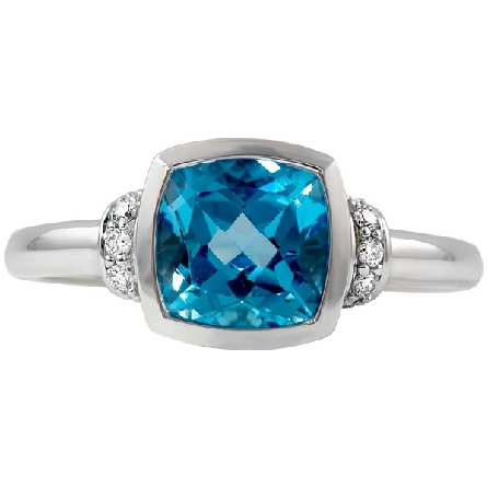 woman's ring; 7x7 bezel-set cushion blue topaz; diamond collars; diamond in filigree under center; 1/12 cttw