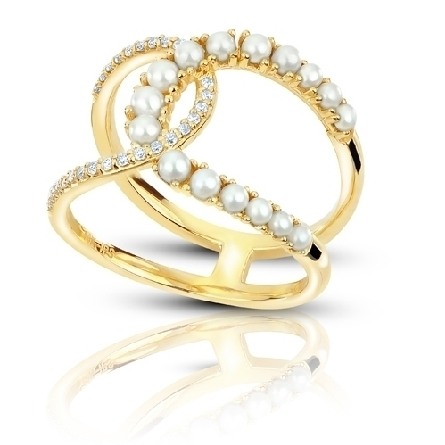 14 karat yellow gold ring; ovrlapping horseshoe shapes; one set with freshwater seed pearls;the other with 27 diamonds = .145cttw