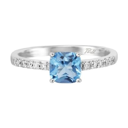 14 karat white gold ring with a row of diamonds (.15cttw) on each side shank and a cushion shaped blue topaz (1.14ct) center